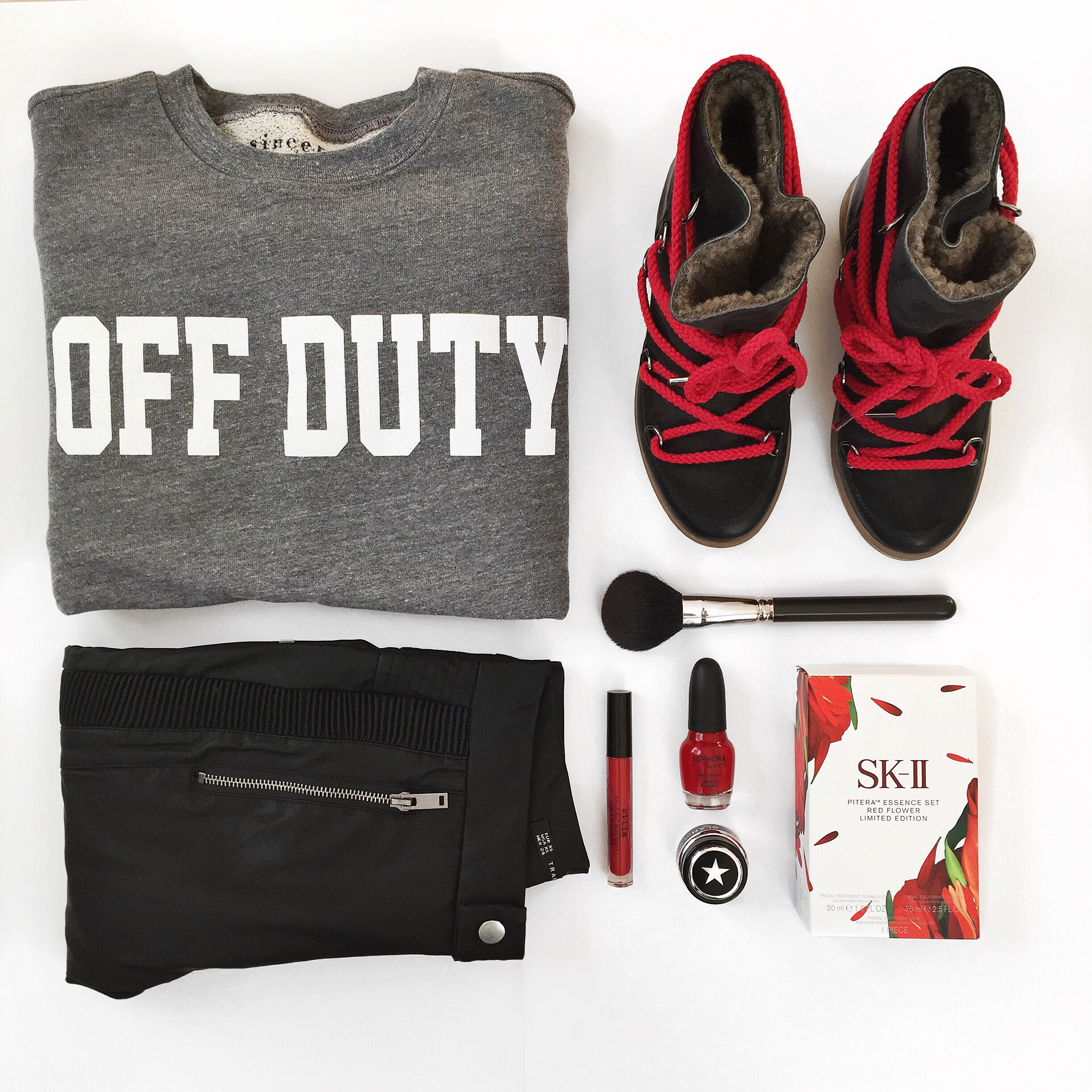 "Style Flatlay - Sincerely Jules ""Off Duty"" sweatshirt, Isabel Marant snow boots, Zara pants"