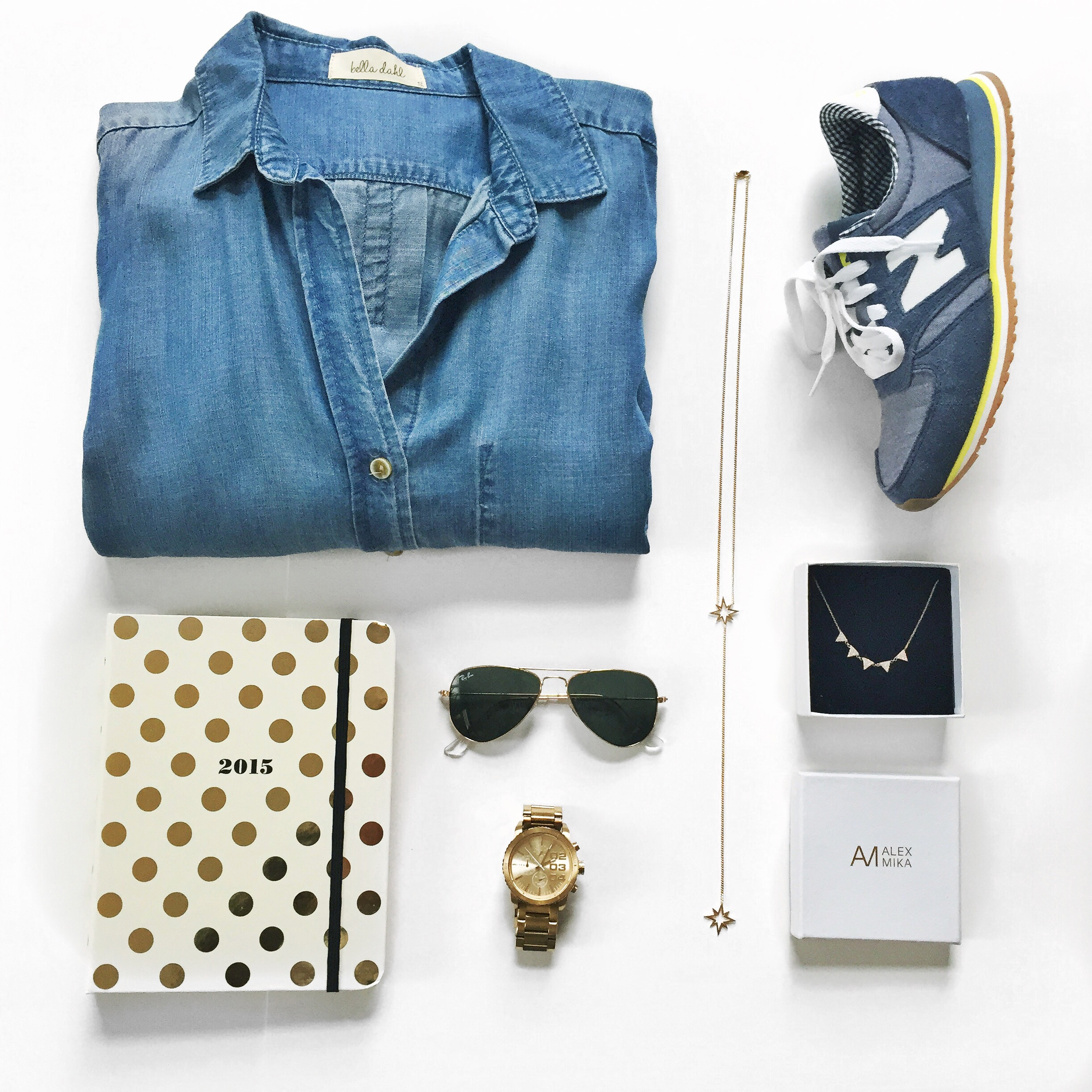 Style flatlay - Bella Dahl chambray top, New Balance 420's, Alex Mika necklace, Ray Ban Sunnies