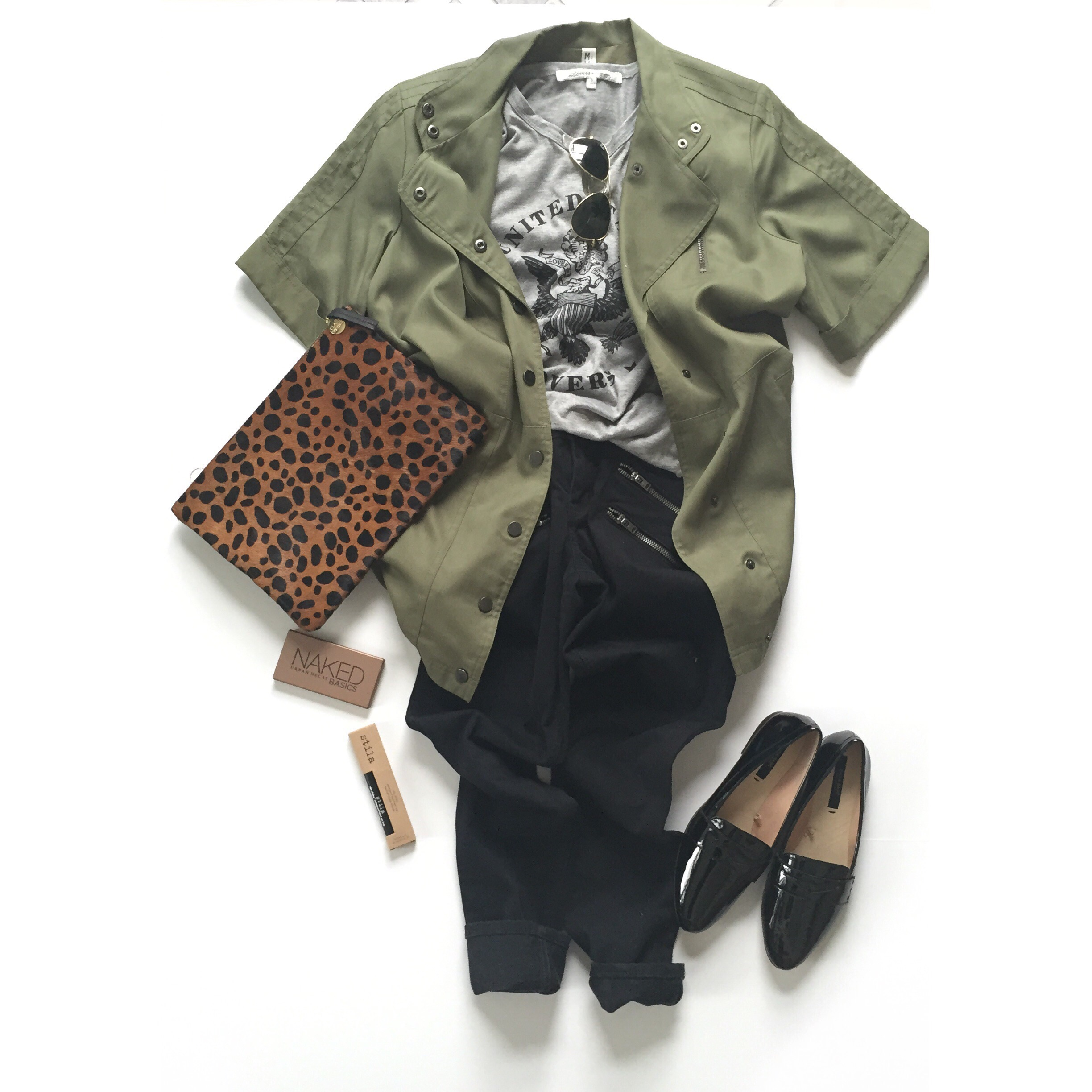 What I Wore - Lovers&Friends tee, Nordstrom jacket, Clare Vivier clutch, Zara flats