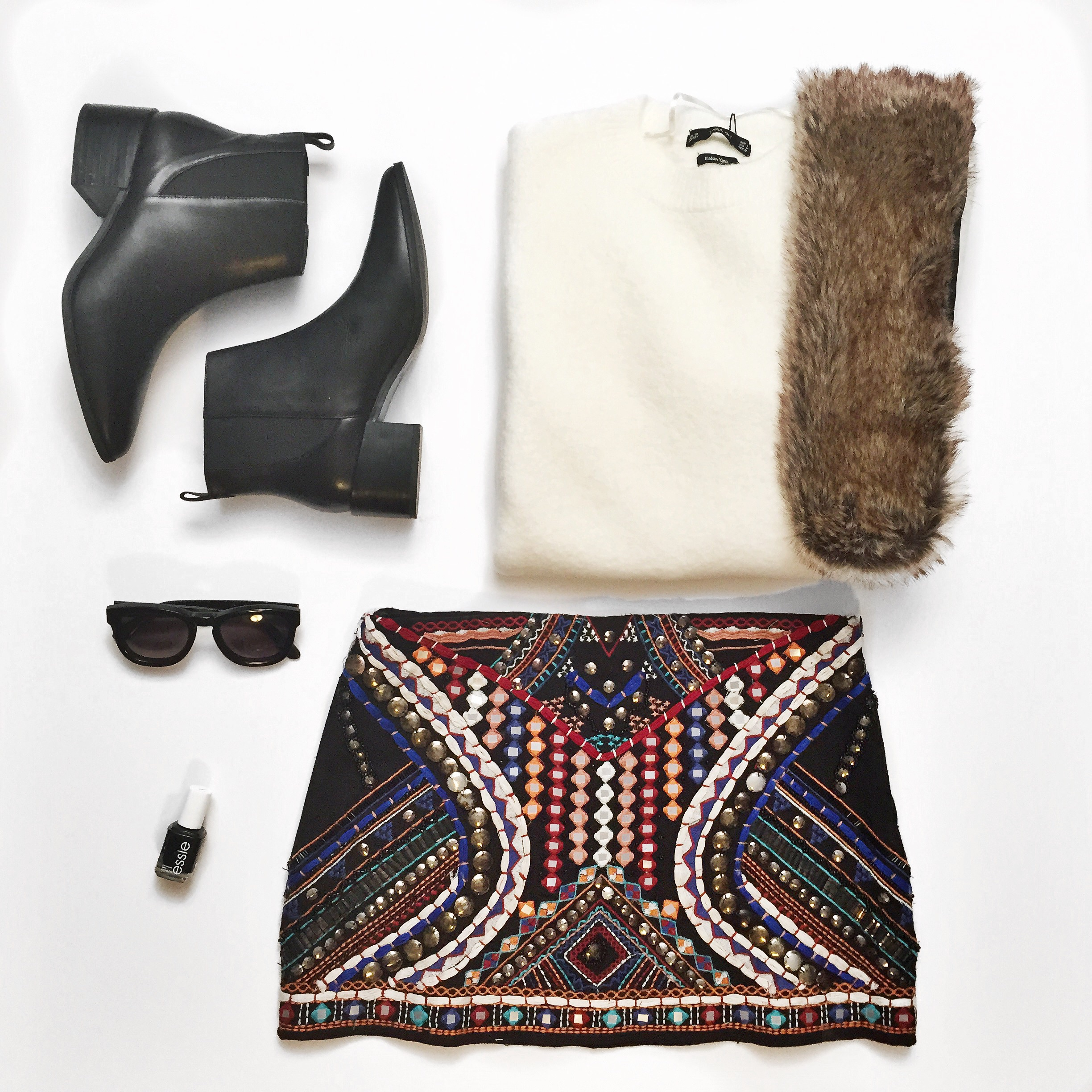 Flatlay - Zara embellished skirt & boots, Wildfox Sunnies, Forever21 Sweater