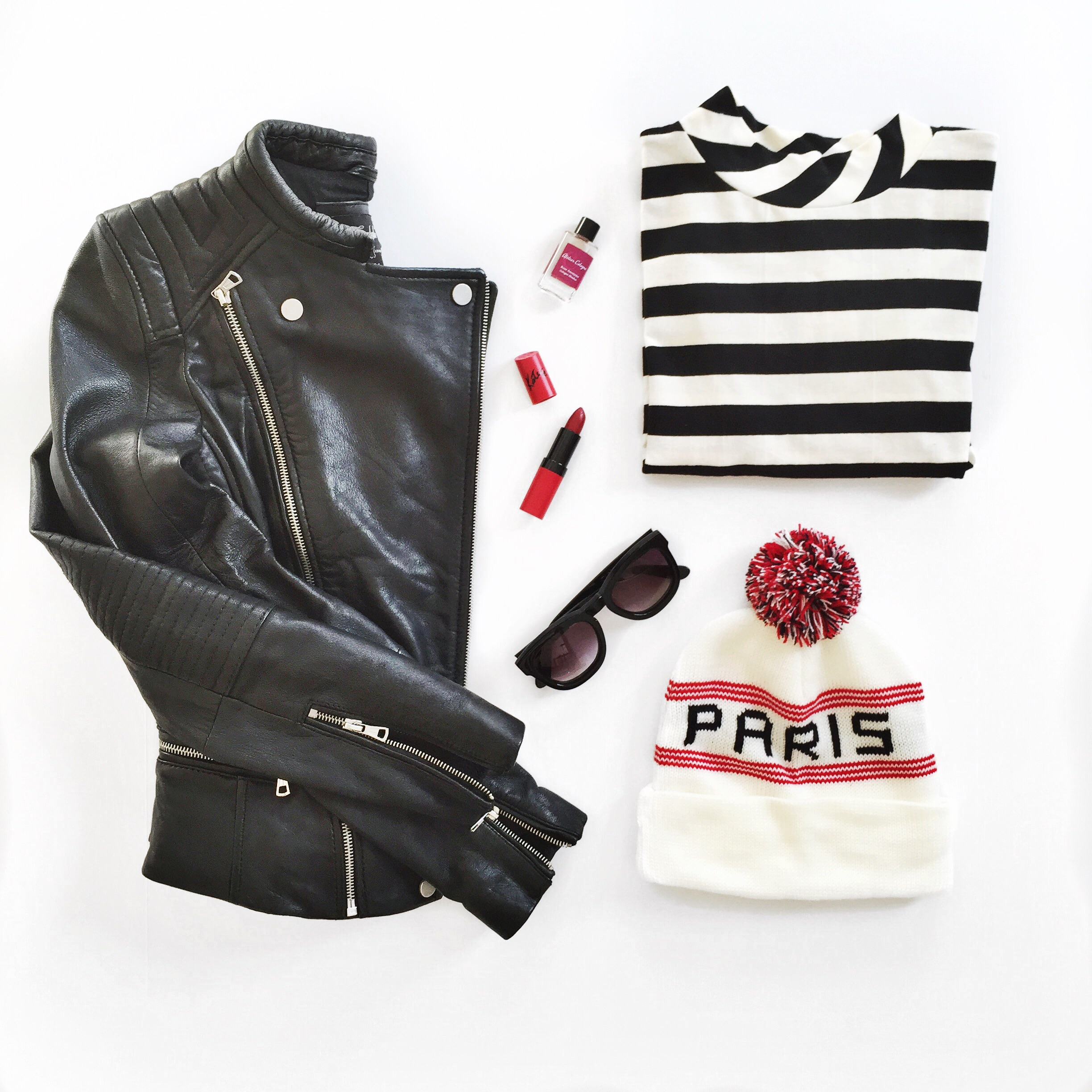 Flatlay (Zara leather jacket, American Apparel beanie, Forever 21 top)