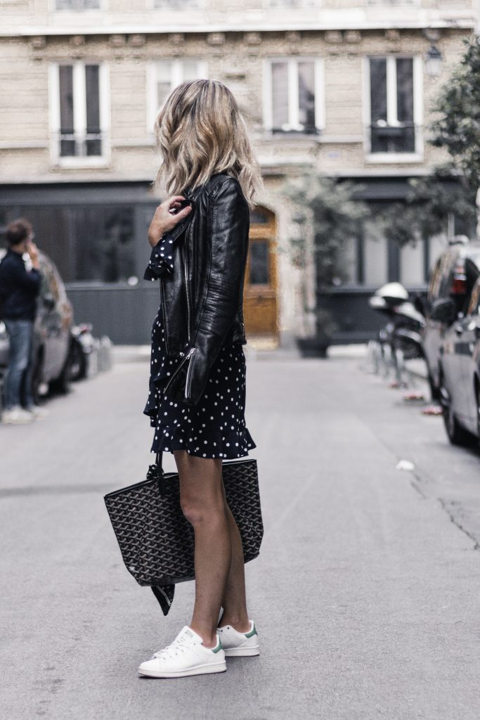 Outfit - Polka Dot Dress, Leather Jacket, Adidas Stan Smith, Goyard Tote