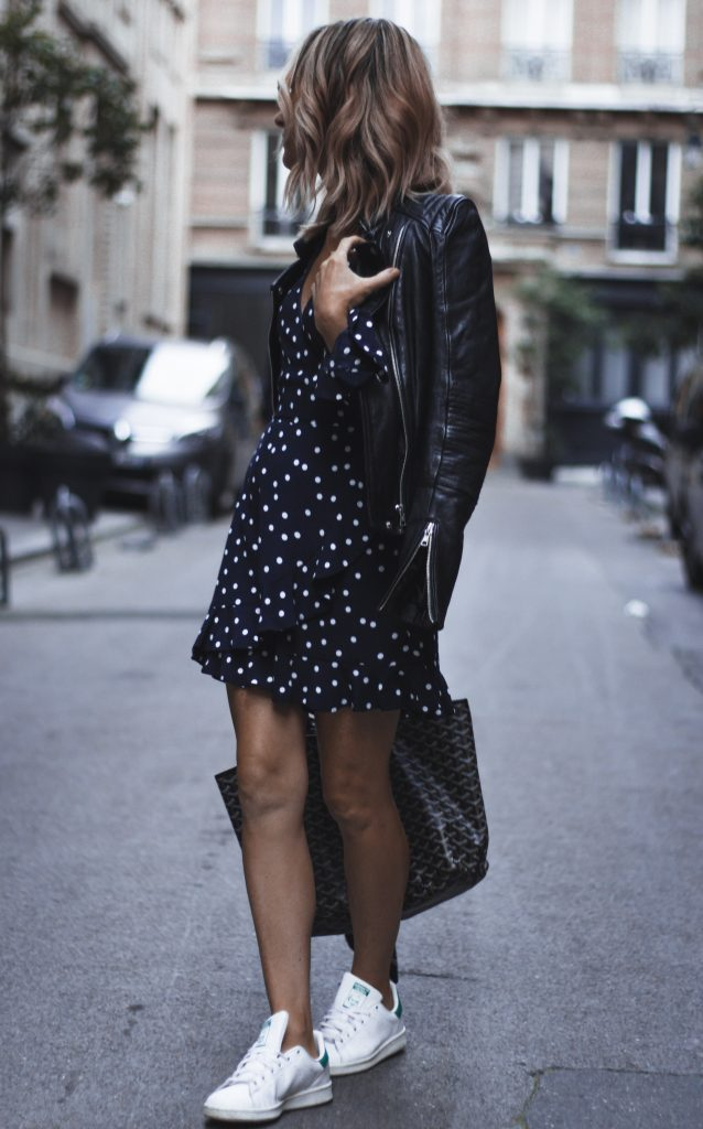 SeeWantWear Outfit - Polka Dot Dress, Adidas Stan Smith sneakers, Zara leather jacket & Goyard Tote