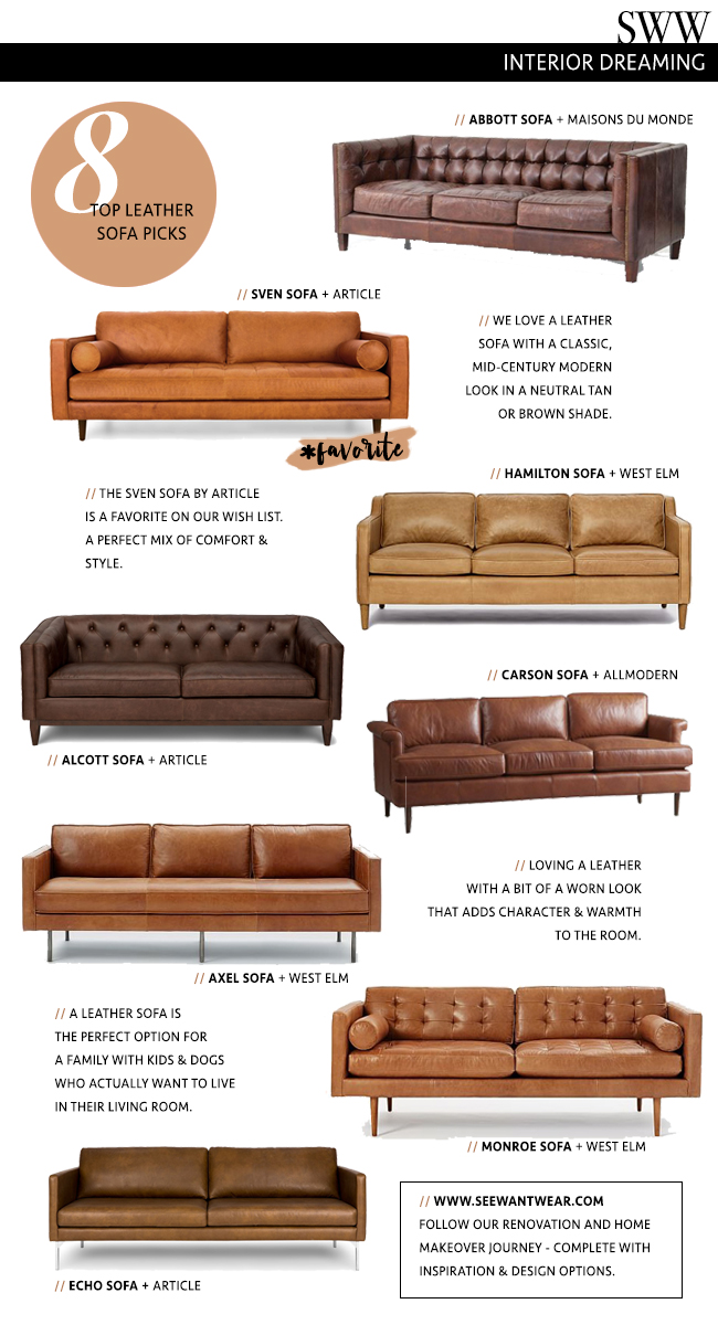 The 8 Best Tan Leather Sofas